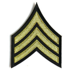 Embroidered Sergeant Chevron Black Yellow/Gold Sew or Iron on Patch Biker Patch