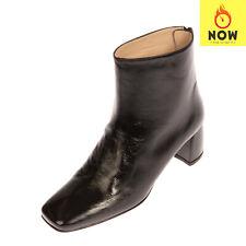 RRP €605 STUART WEITZMAN Leather Ankle Boots EU 37 UK 4 US 6.5 Crumpled Effect