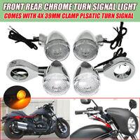 4x Motorrad Bullet LED Blinker Licht 39mm Chrom für Harley Davidson Chopper Dyna