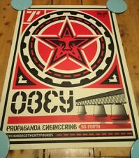"Shepard Fairey OBEY Propaganda Ingegneria 2000 18 * 24"" ONU firmato Crema imperfezione"
