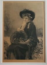 """MARCUS STONE & JOHN LOUIS STEELE """"YOUNG LADY AND KITTEN"""" DOUBLE SIGNED.  1881."""