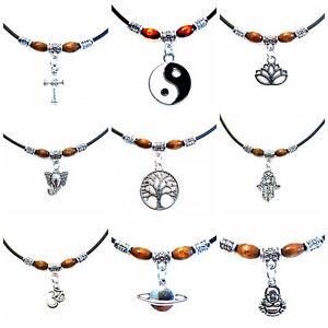 Retro Black Cotton Choker - Cotton Cord Beaded Charm Necklace - Hippy Vintage