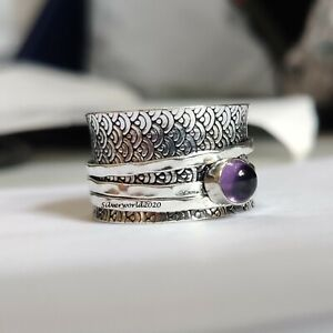 Amethyst Ring Spinner Ring 925 Sterling Silver Plated Handmade Ring Size 10 P579