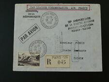 registered air mail cover Paris to Saigon Vietnam Indochina 1950