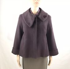 Caroll Coat Jacket Flared Cropped Eggplant button up Wool Blend Coat Fr-Unique