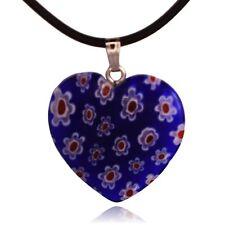 Blue Glass Flower Mosaic Heart Pendant Necklace