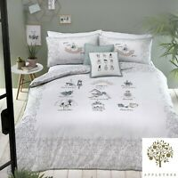 Appletree WELLBEING Duvet Cover Percale Cotton White Printed Bedding Pillowcases