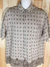 Mens Tasso Elba Hawaiian Silk Linen Blend Button Up Casual Shirt Sz L Tan Floral