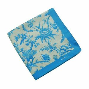 Kiton Silk Pocket Square in Teal Blue and White with Floral Design