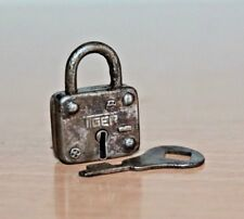1900's Old Antique Beautiful Handmade TIGER Marked Coin Size Small Iron Pad Lock