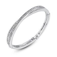 Womens Ladies Bangle with Crystals. Swarovski® & White Rarest Metal Anniversary
