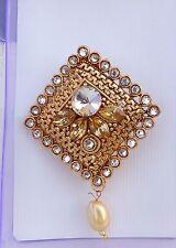 Indian Party Wear Saree Pin / Sari pin /Brooch Fashion Gold Tone /CZ Stone b16