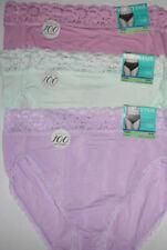 3 Vanity Fair 13280 Lace Sheer Hi Cut Panty Set Nylon 8 XL Pink Purple Green NWT