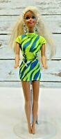 "MATTEL BARBIE Doll Long Blonde Hair Blue Eyes Two Piece Green Outfit 12"" Tall"