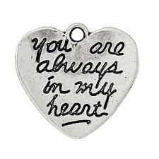 10 YOU ARE ALWAYS IN MY HEART~DOUBLE SIDED~CHARM/PENDANT~Wedding~Valentine (62G)