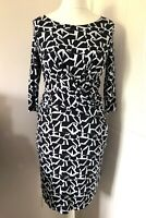 Hobbs London Blue Patterned Pencil Dress Size 12 Twist Front 3/4 Sleeves Smart