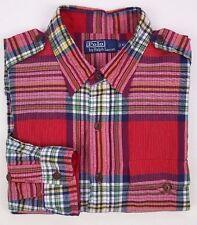 POLO Ralph LAUREN Shirt XL Red TARTAN Madras CHECK Cotton DUAL Front POCKETS Men