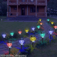 8Pc Diamond Glass Steel Solar Powered Colour Changing LED Garden Stake Lights