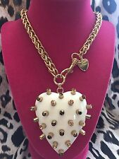 Betsey Johnson Vintage White Lucite HUGE Heart Spiked Spike Brown Gold Necklace