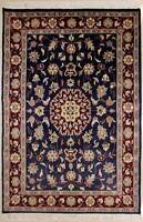 Rugstc 4x6 Pak Persian Blue Area Rug, Hand-Knotted,Floral with Silk/Wool Pile
