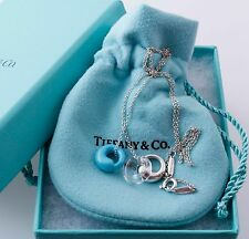 Tiffany & Co Silver Turquoise Rock Crystal Eternal Circle Charm pendant Necklace
