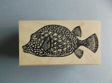 100 PROOF PRESS RUBBER STAMPS PATTERNED FISH NEW wood STAMP