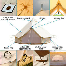 4-Season 6M Canvas Bell Tent Accessory Rain Flying Awning Glamping Stove Hole