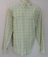 Lands End XL 17-17.5 Mens Beige Long Sleeve Button Down Dress Shirt