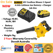 DeWalt 18V Cordless Blower 3 Speed 4.0Ah Lithium Ion Battery + Charger Job Site