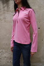 M&N Murphy & Nye Ladies Long Sleeved Pink Polo jumper Top Cotton  M Sweat Auth