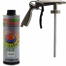 Pro Range 1 Litre Black Stone Chip + Spray Gun Can be over Painted Paintable