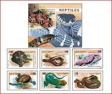 SAH9802 Reptiles 6 stamps and block