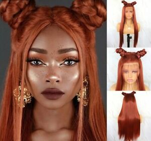 24inch Synthetic hair Lace front wigs Copper Red Long Straight Women Daily use