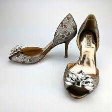 Badgley Mischka Crystal Peep Toe Limited Edition d'Orsay Pumps Heels Size 6 M