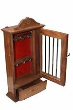 Deluxe Rosewood Handcrafted Wooden Key Cabinet with 6 key Hooks and Glass Panel