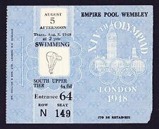 1948 London Olympics Swimming 5th August *VG Condition Ticket*