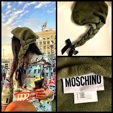 Rare MOSCHINO Couture Jeremy Scott Braided Army Navy Green Beanie Beret Hat M