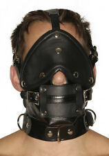 Strict Leather Premium Muzzle Face Harness - Black, Adjustable w/ Blindfold Gags