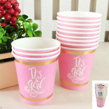12Pk 200Ml Baby Shower Paper Cups Pink Party Gold It's a Girl Tableware Drinking