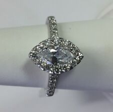 1.32 ct Marquise Shape 14k White Gold Diamond Ring Certificate D/si2 Natural