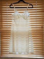 Vintage Shadowline Beige Full Slip w/Lace Trim. Size 34