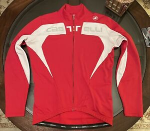 100% Authentic Castelli Size True Medium Cycling Jacket Jersey Red & White