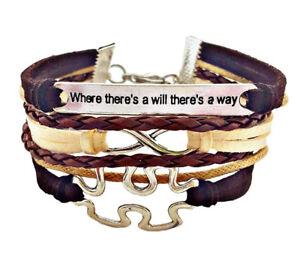 Inspirational Quote Infinity Puzzle Piece Autisim Awareness Charm Bracelet