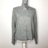 H&M Womens Sweater Gray Grey Crew Neck Pullover Cotton Blend Wool Size Large