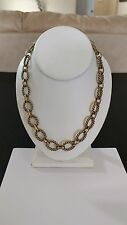 """Premier Designs Jewelry LINKED IN Antique Gold Plated Adj to 21"""" Necklace NWOT"""