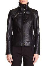 Cole Haan Women's Black Genuine Lambskin Zip Front Jacket sz: L - $500