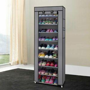 10 Layer 9 Shelf Shoes Cabinet Storage Organizer Shoe Rack Dustproof Standing