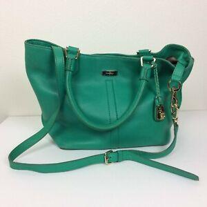 Cole Haan Green Leather Serena Village Tote Bag Handbag