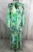 Vintage 1970's Women's Long Green Floral 3/4 Sleeve Mod Maxi Dress Size Small S