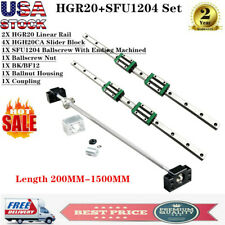 Hgr20 Linear Rail Set 2Pcs 200mm-1500mm 4X Blocks BallScrew Rm1204 Bf12/Bk12 Cnc